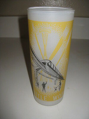 Vtg Seattle World's Fair 1962 Frosted Drinking Glass Monorail