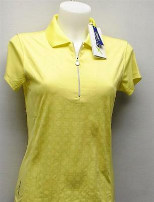 Ladies Daily Sports Aileen zip polyester cap sleeves golf polo shirt yellow S