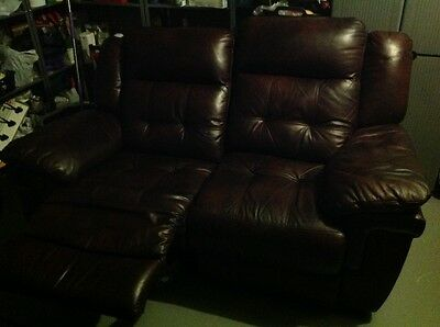 1 x Lazyboy leather two seater sofa manual recliner