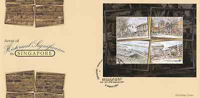 SINGAPORE - 2011 - FDC: Areas of Historical Significance. Miniature Sheet