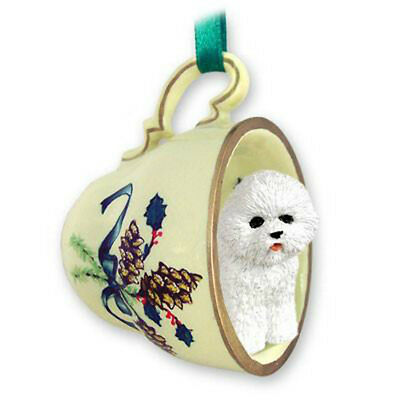 BICHON DOG ORNAMENT tea cup Christmas dog ornament holiday gift for dog lover
