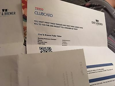 CHEF & BREWER £50 Tesco Clubcard Dining Out meal vouchers Valid until 3004/17