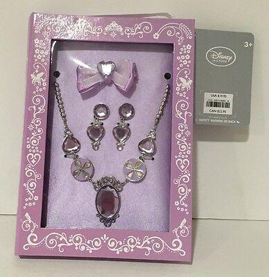 Disney Store Princess Sophia Costume Jewelry Necklace Earring Hair Clip Set NEW!