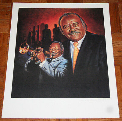 Jazz great HARRY SWEETS EDISON 16x20 Lithograph Signed Artist Ron Lewis TRUMPET
