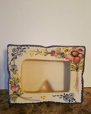 Vintage Hand Painted Portugal Pottery Photo Frame 5x6