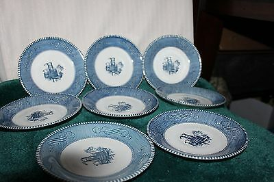 """8 CURRIER & IVES ROYAL CHINA 6"""" SAUCERS  Steamboat"""