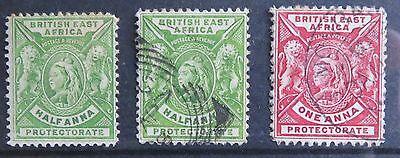 British East Africa stamps, SG 65 mm & used, SG 66 used
