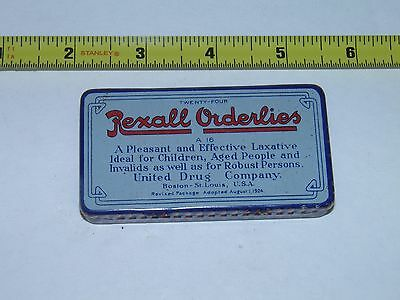 Vintage Rexall Orderlies Laxative Tin