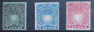 British East Africa stamps, SG 12, 14 & 29, mm