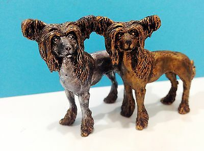 Chinese Crested Pewter miniature dog figurines tin handmade Souvenirs Russia