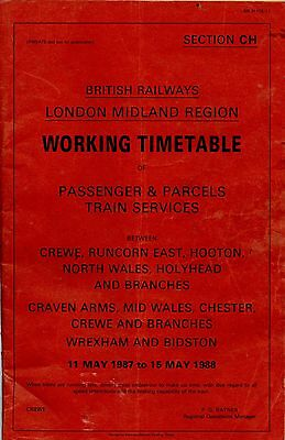 BR (LMR) Working Timetable Sec CH Crewe, Craven arms etc  1988