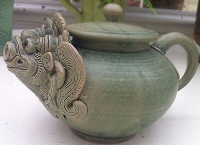 Antique fascinating Chinese/korean bisque celadon Teapot with Dragon spout