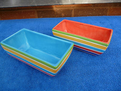 2 Whittards Hand Painted Oblong Dishes , Stripes Pattern.