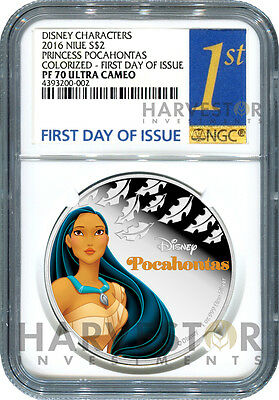 2016 Silver Disney Princess Series - Pocahontas - Ngc Pf70 First Day Of Issue