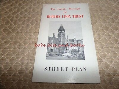 The County Of Borough Of Burton Upon Trent Vintage Map 1950's