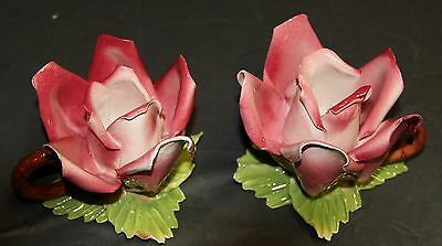Lot of 2 Capodimonte Flower Porcelain Candle Holders Pink Made in ITALY
