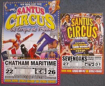 Two Santus Circus Posters-Spiderman & Globe Of Death