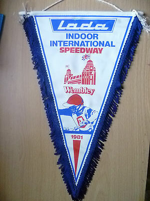 1981 LADA INDOOR INTERNATIONAL Speedway Pennants (apx.34x22 cm)