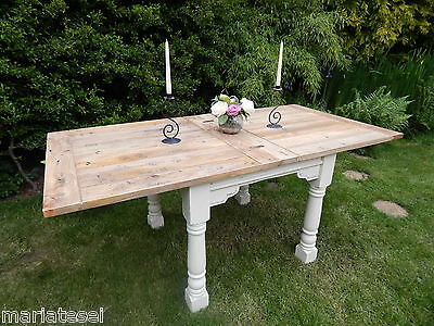 Rustic Oak Finish Country Farmhouse EXTENDING Kitchen Dining Table Painted NEW