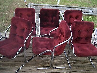 Vintage Mid Century Modern Milo Baughman Style Chrome Cantilever Dining Chairs-6
