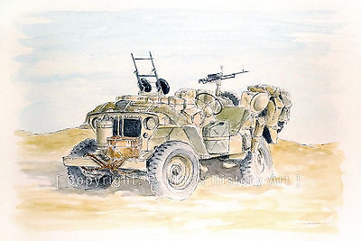 WW2 WWII Jeep Willys SAS Desert Original Watercolor Painting NOT A PRINT
