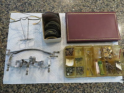 vintage bausch lomb opthalmic test set including gold filled nose pieces.