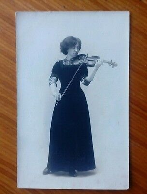 Vintage* Lady with a violin and bow. Think real photo...