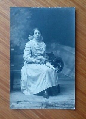 Vintage* Lady with a violin and bow. Brunton's Studios, Burnley & Gt. Harwood.