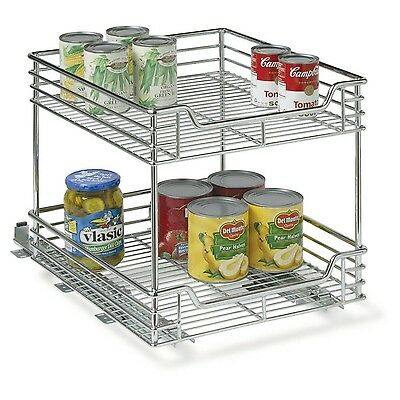 Household Essentials Two-Tier Basket Sliding Cabinet Organizer Chrome 14-1/2-...