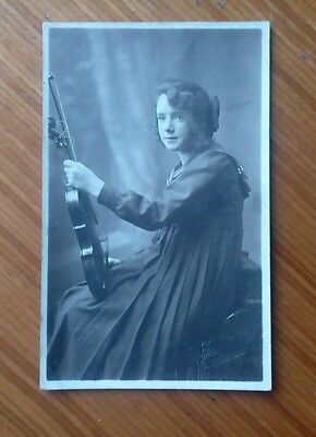 Vintage* Young Girl with violin and bow. Imprinted Townson Bathgate (Scotland).