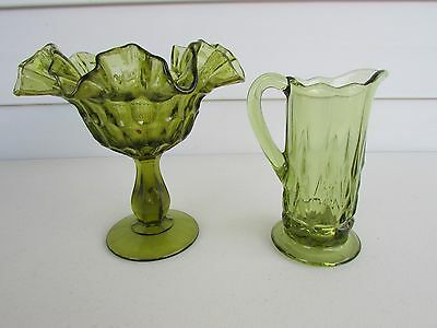 Vintage Green Pedestal Depression Glass Candy Bowl Ruffled Edge & Small Pitcher