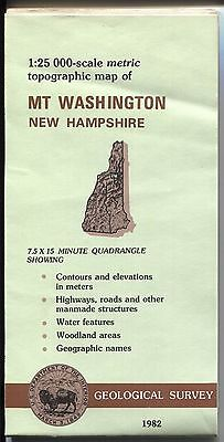 US Geological Survey topographic map metric New Hampshire MT WASHINGTON 1982