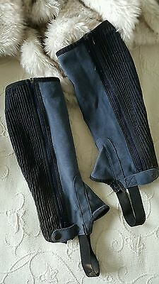 Adults Suede Half Chap navy size small