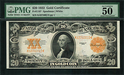 1922 $20 Gold Certificate FR-1187 - Graded PMG 50 EPQ - About Uncirculated