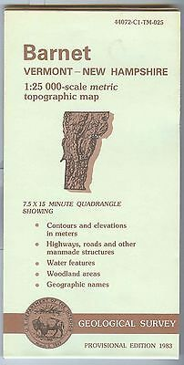 US Geological Survey topographic map metric provisional BARNET Vermont/NH 1983