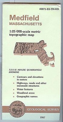 US Geological Survey topographic map metric MEDFIELD Massachusetts 1987