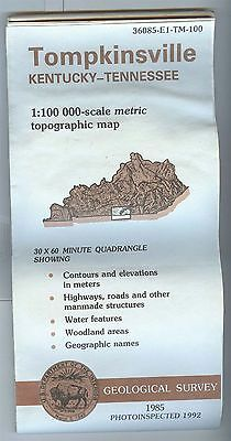 US Geological Survey topographic map metric TOMPKINSVILLE Kentucky TN 1992 bad