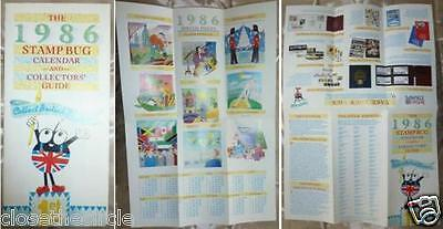 1986 Stamp Bug Calendar and Collectors' Guide fold-out leaflet
