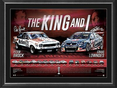 "Peter Brock  Craig Lowndes ""The King and I"" Lithograph  facsimile signed print"