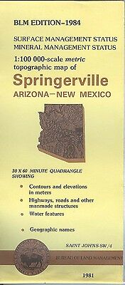 USGS BLM edition topographic map Arizona New Mexico SPRINGERVILLE 1984 mineral