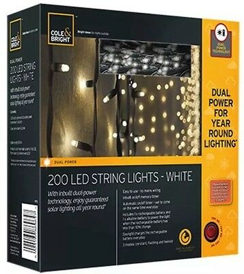 200 Solar Led String Lights ,Cole & Bright Garden Outside Christmas Lighting