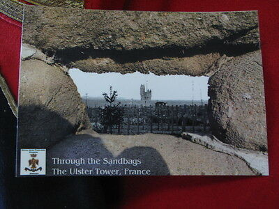 Postcard the Ulster Tower through the sandbags