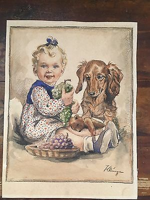 Vintage German Signed Watercolor Painting of Child and Dachshund Dog