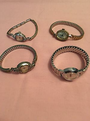 VINTAGE Lot Of 4 Ladies Watches, 2 Timex, Helbros,and Bulova