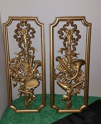 CHARMING Pair Vtg Hollywood Regency HOMCO Musical Instruments GOLD WALL PLAQUES!