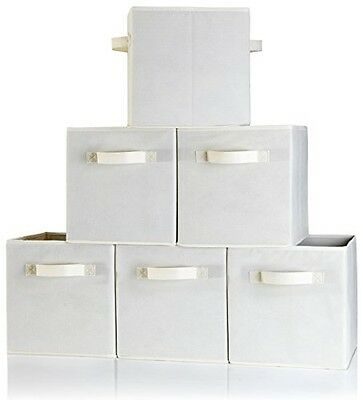 B&C Home Goods Dual Handle Storage Cubes - Set of 6 Beige Container Bins