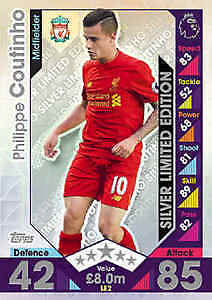 Match Attax 2016/17 Phillippe Coutinho Limited Edition SILVER LE2