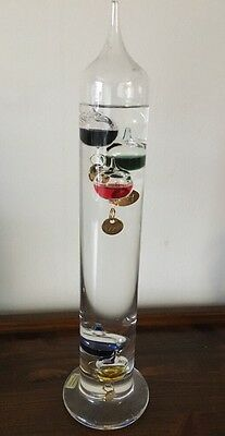 """13"""" GALILEO Glass & LIQUID Fluid EXPANSION Thermometer Made In Germany"""