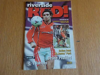 Middlesbrough v Watford League Cup Round 3 Programme 13th October 1999