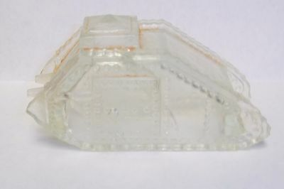 Rare Antique World War One Glass Army Tank Candy Container